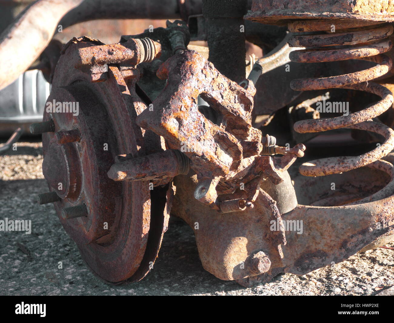Rusty parts from old car - Stock Image