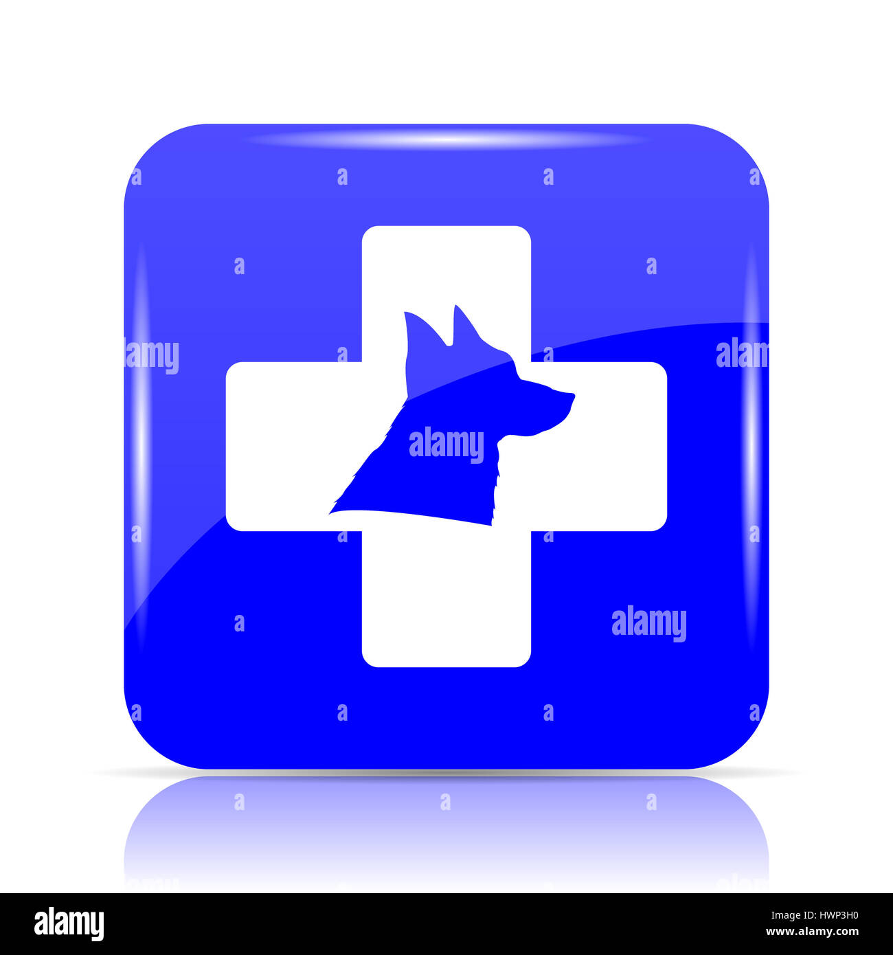 Veterinary icon, blue website button on white background. - Stock Image