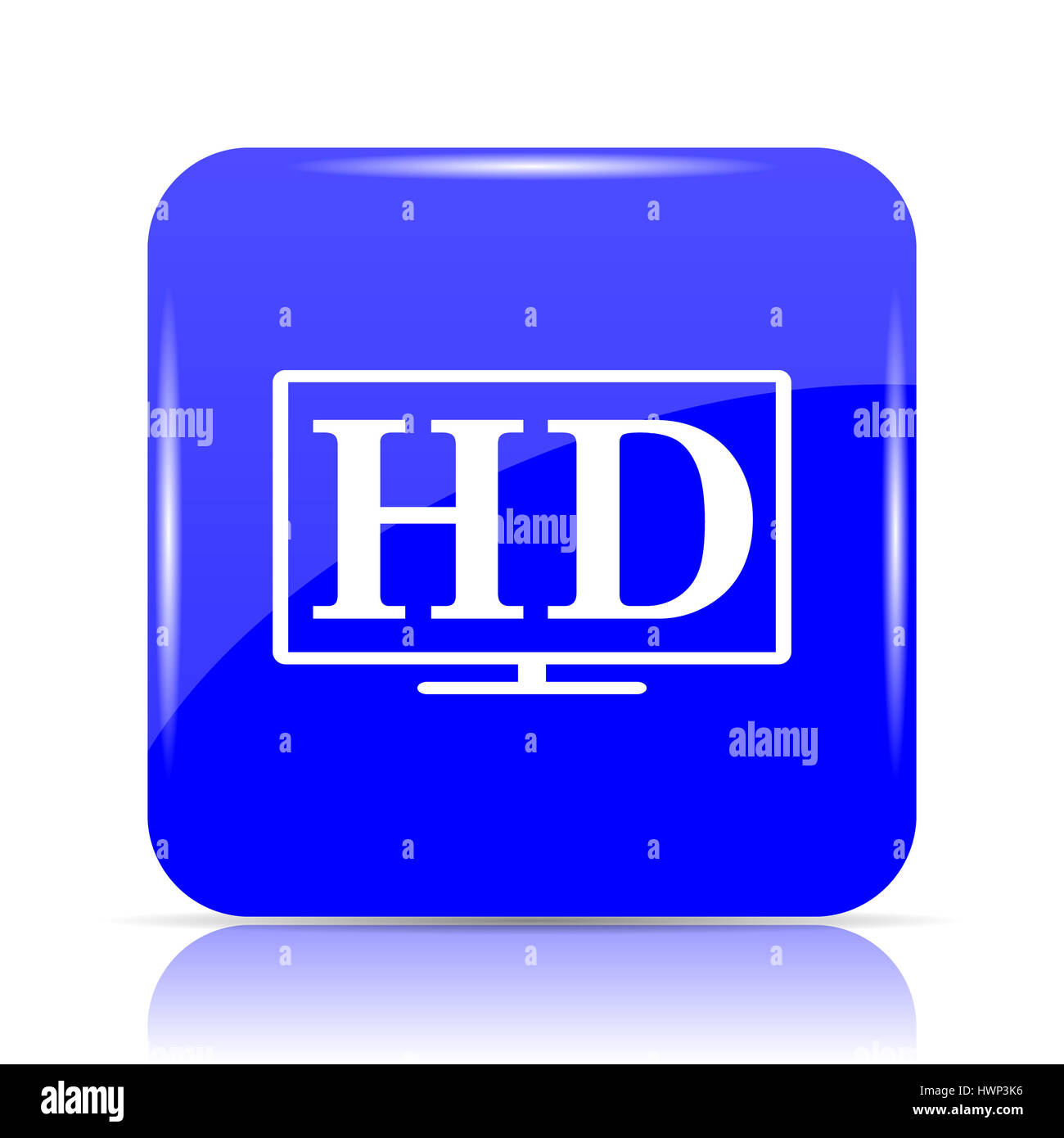 hd tv icon blue website button on white background stock photo