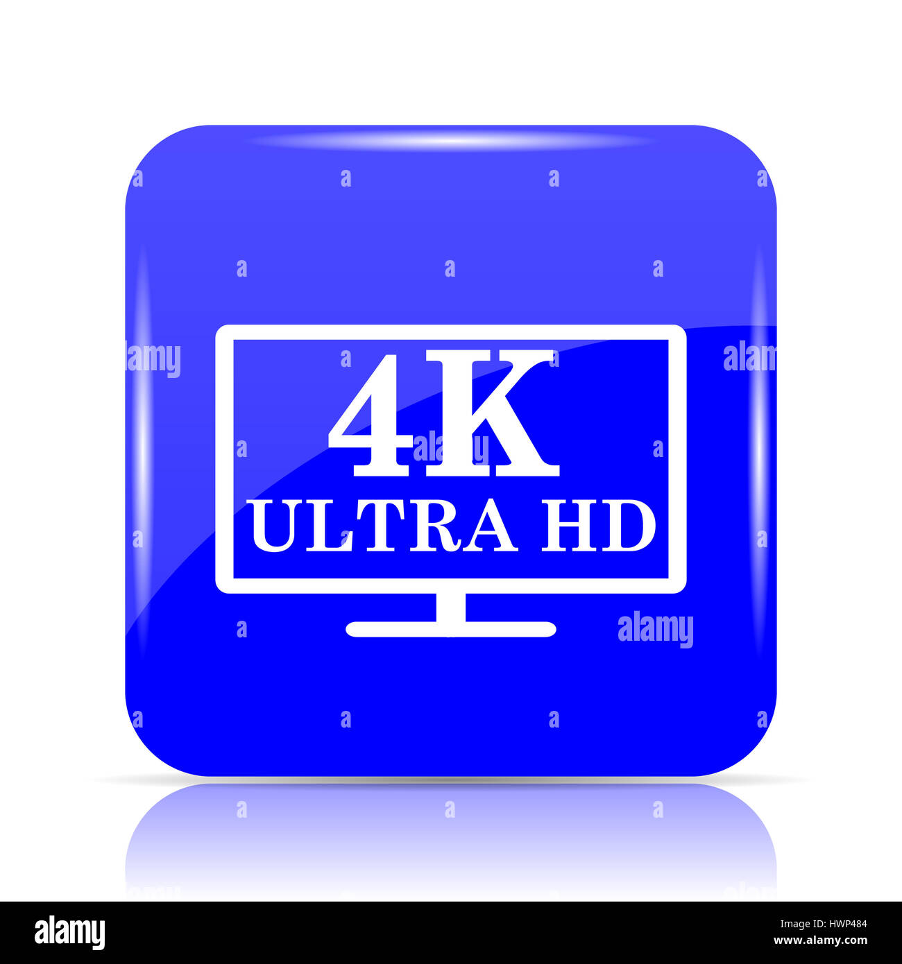 4k Ultra Hd Icon Blue Website Button On White Background Stock