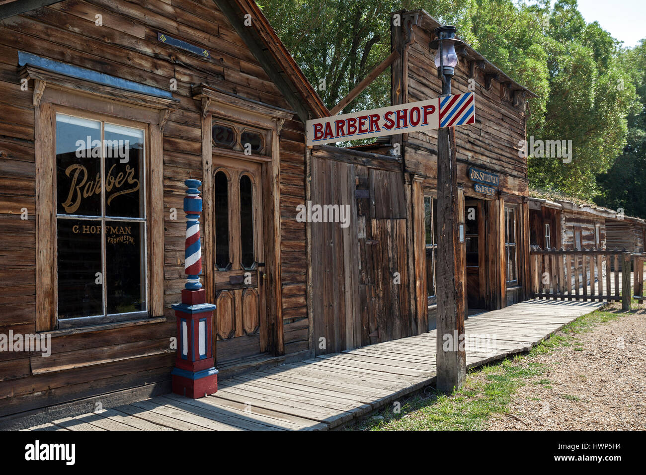 Historic buildings, Barber shop, Wild West open-air museum, Nevada City Museum, former gold mining town, Ghost Town Stock Photo