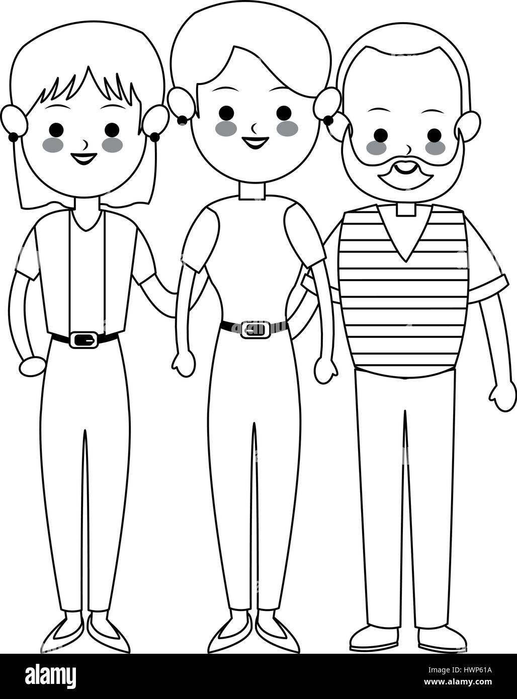 three family members cute cartoon icon image  - Stock Vector