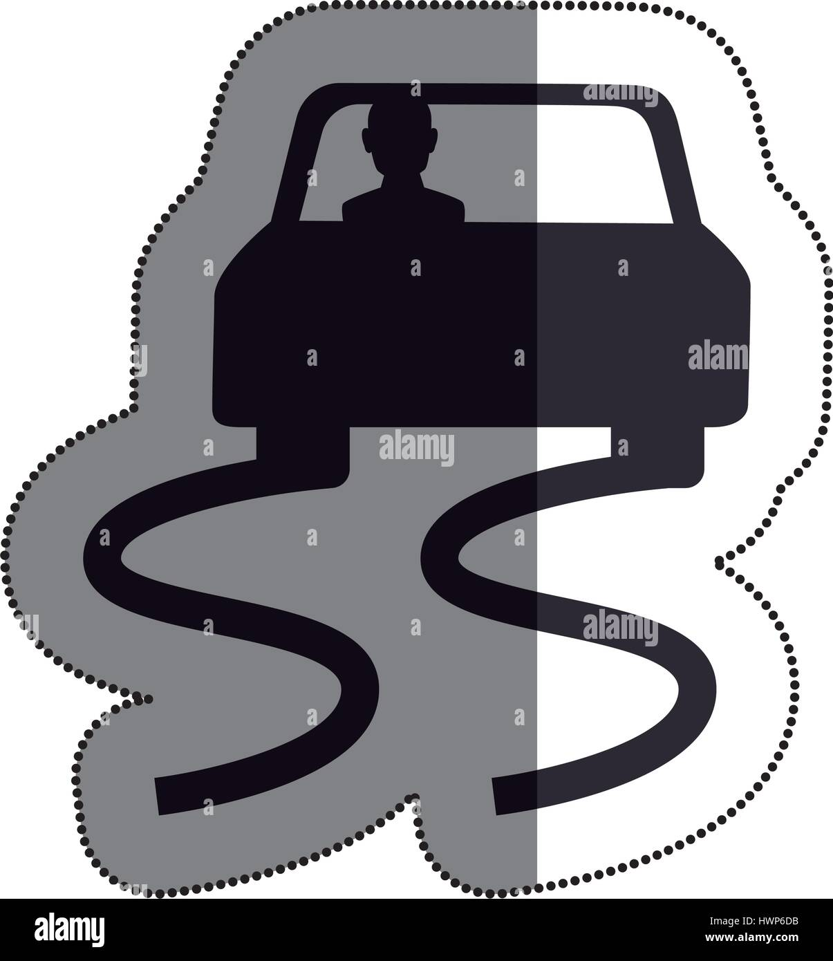 Slippery way road sign vector illustration design - Stock Image