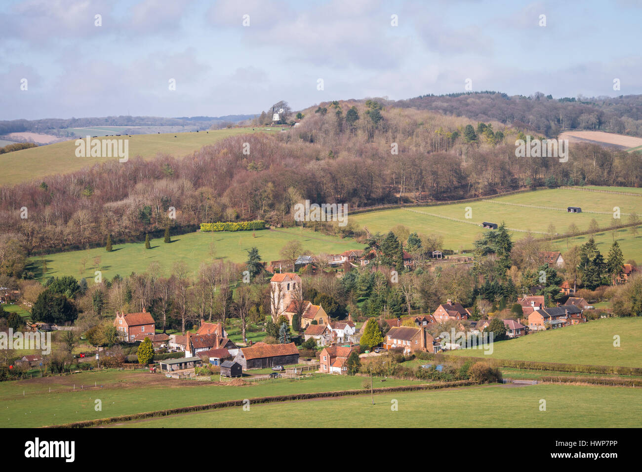 The village of Fingest from Fingest Wood - Stock Image