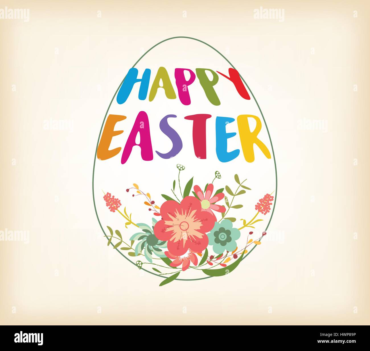 Happy Easter Typographical Background With And Flowers - Stock Image