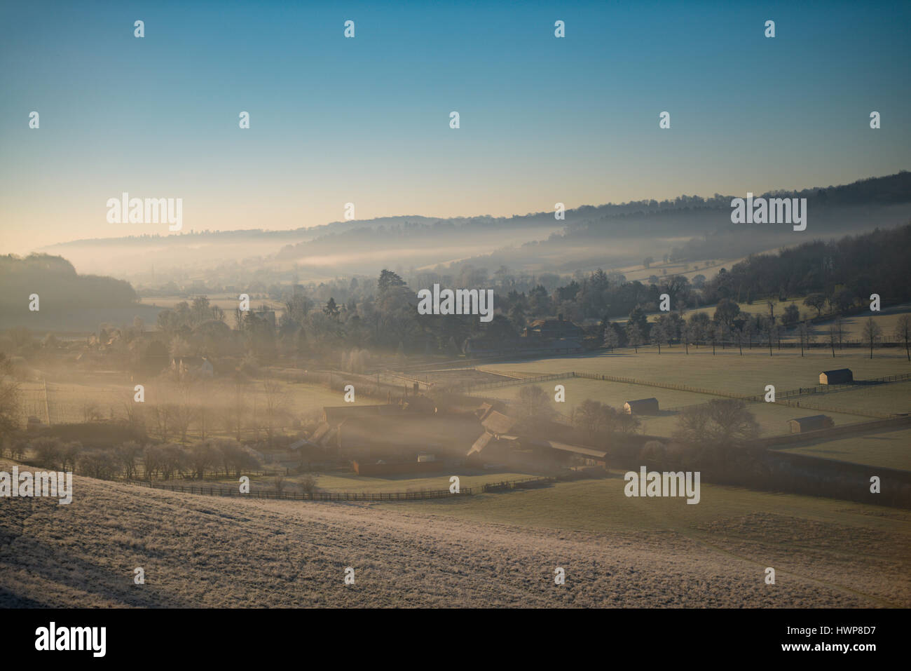 View from the North end of The Hambleden Valley Shrouded in mist - Stock Image