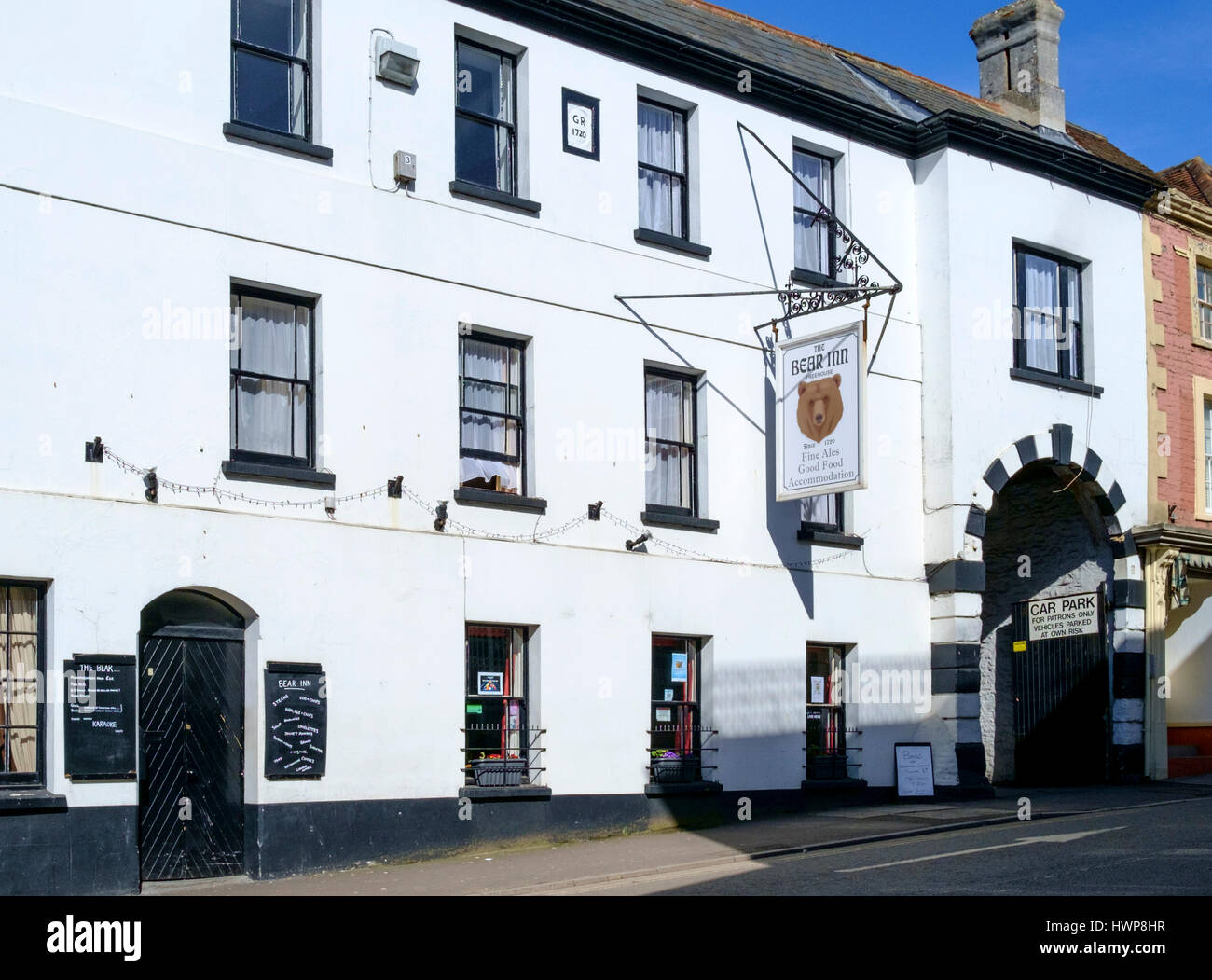 Views of Wincanton Town in somerset England UK. The Bear Inn - Stock Image