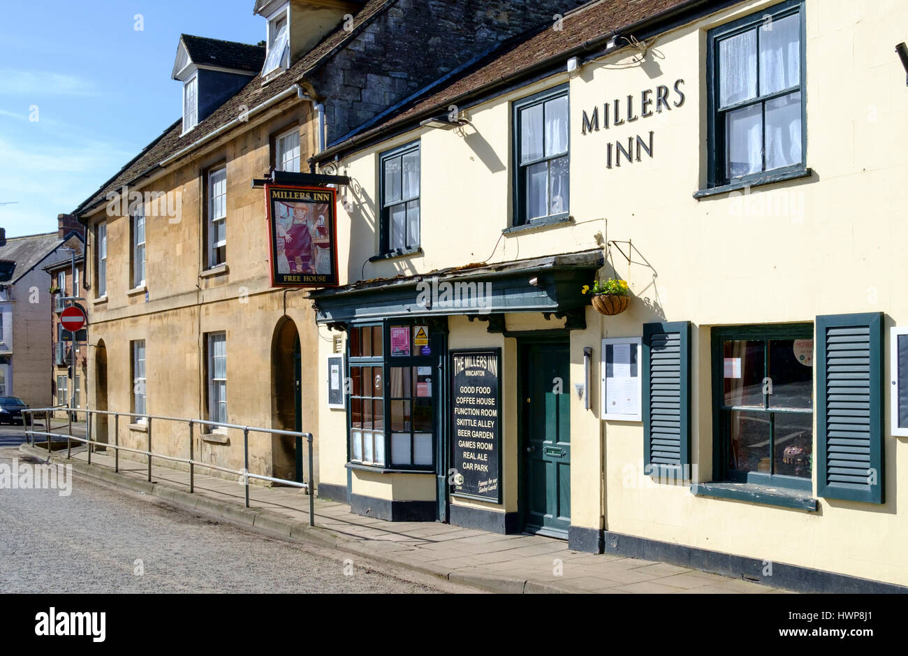 Views of Wincanton Town in somerset England UK. Millers Inn - Stock Image