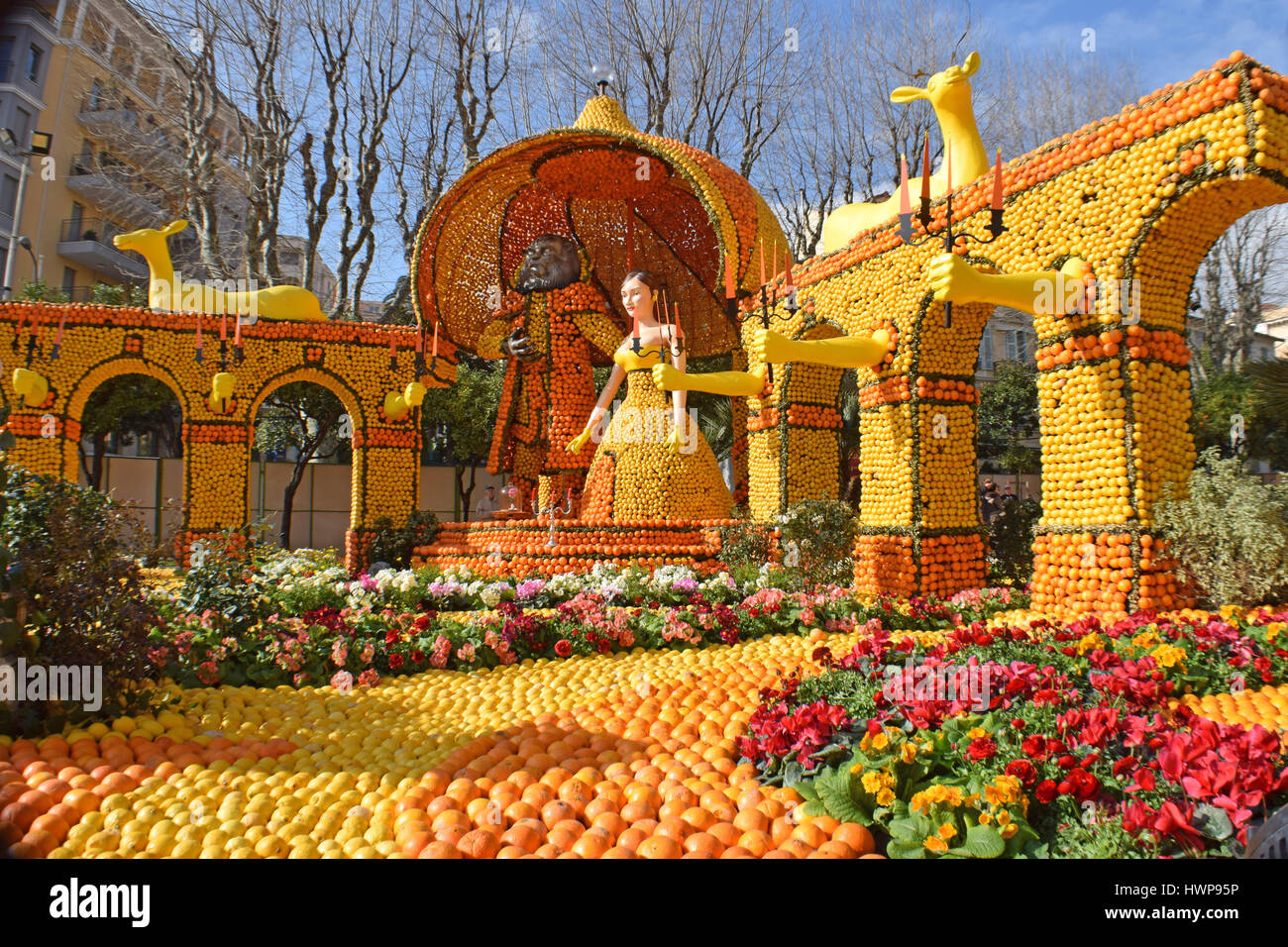 Lemon Festival or Fete du Citron Menton France displays in the ...