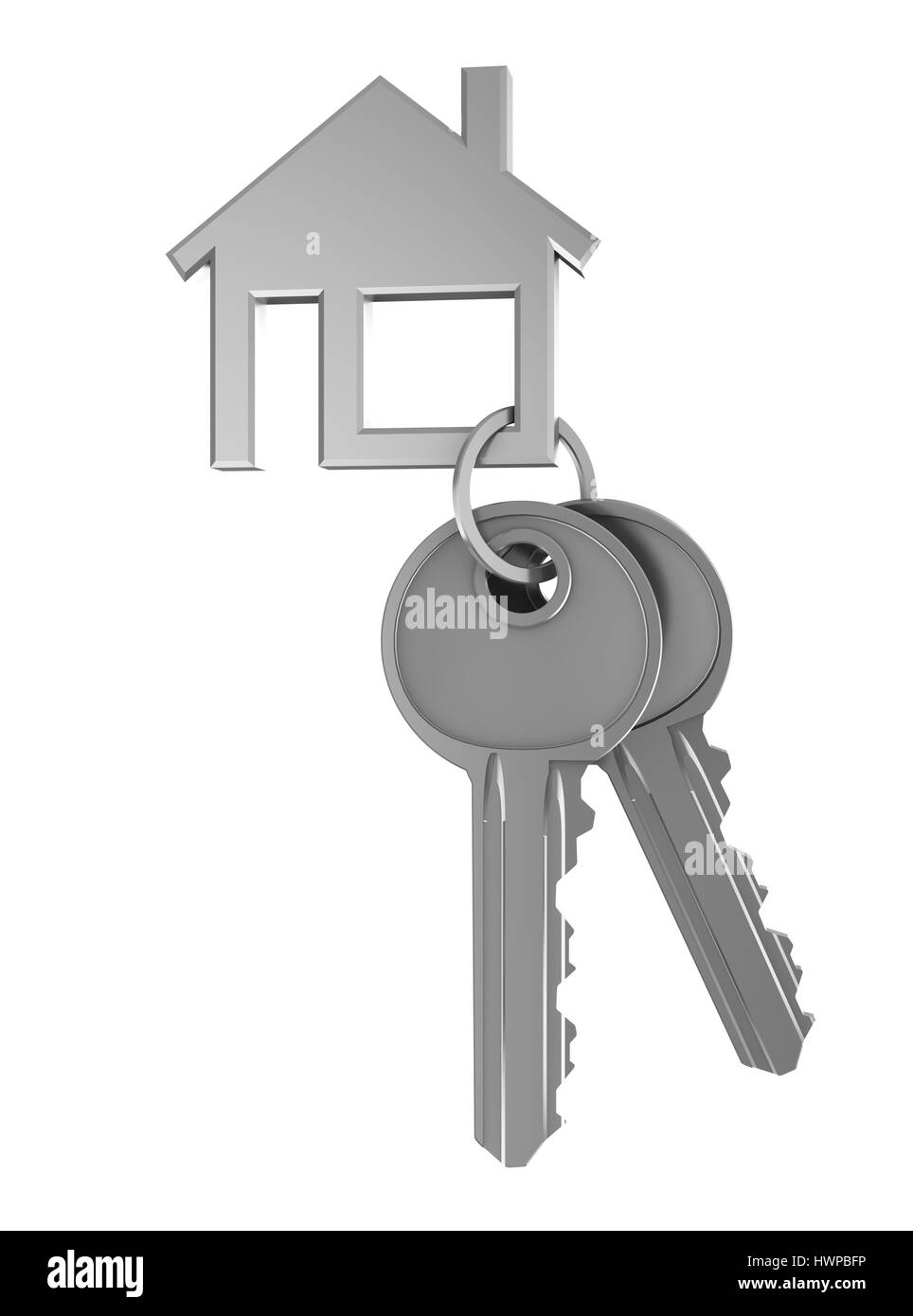 3d illustration of two keays and house shaped keyholder - Stock Image