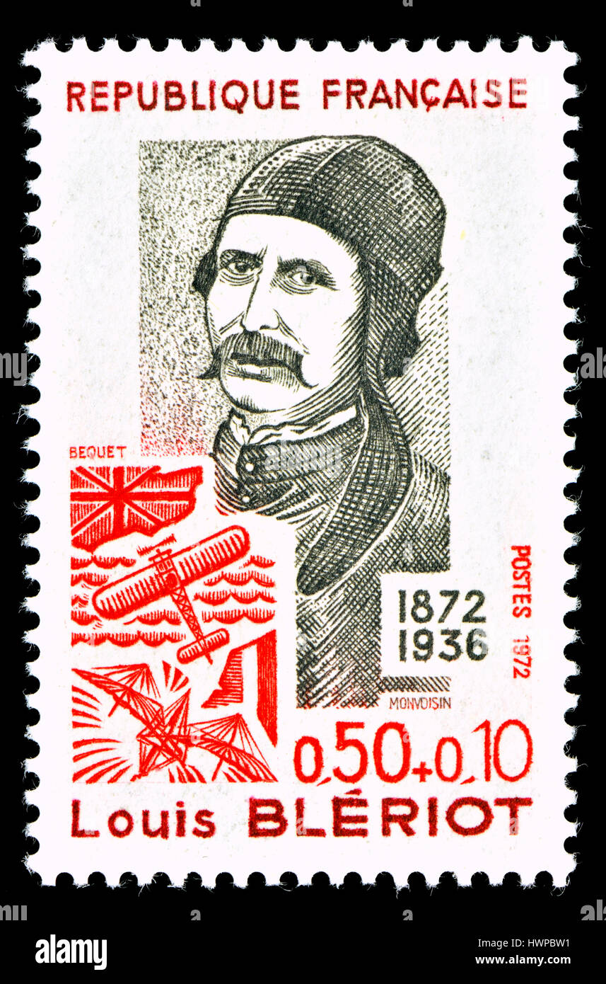 French postage stamp (1972) : Louis Charles Joseph Blériot (1872 – 1936) French aviator, inventor and engineer. - Stock Image