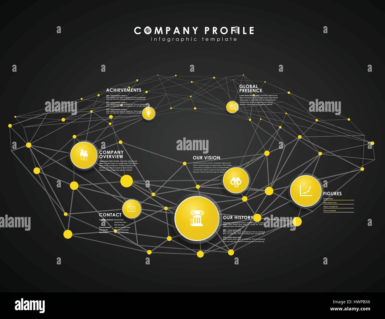Company profile overview template with yellow circles and dots ...