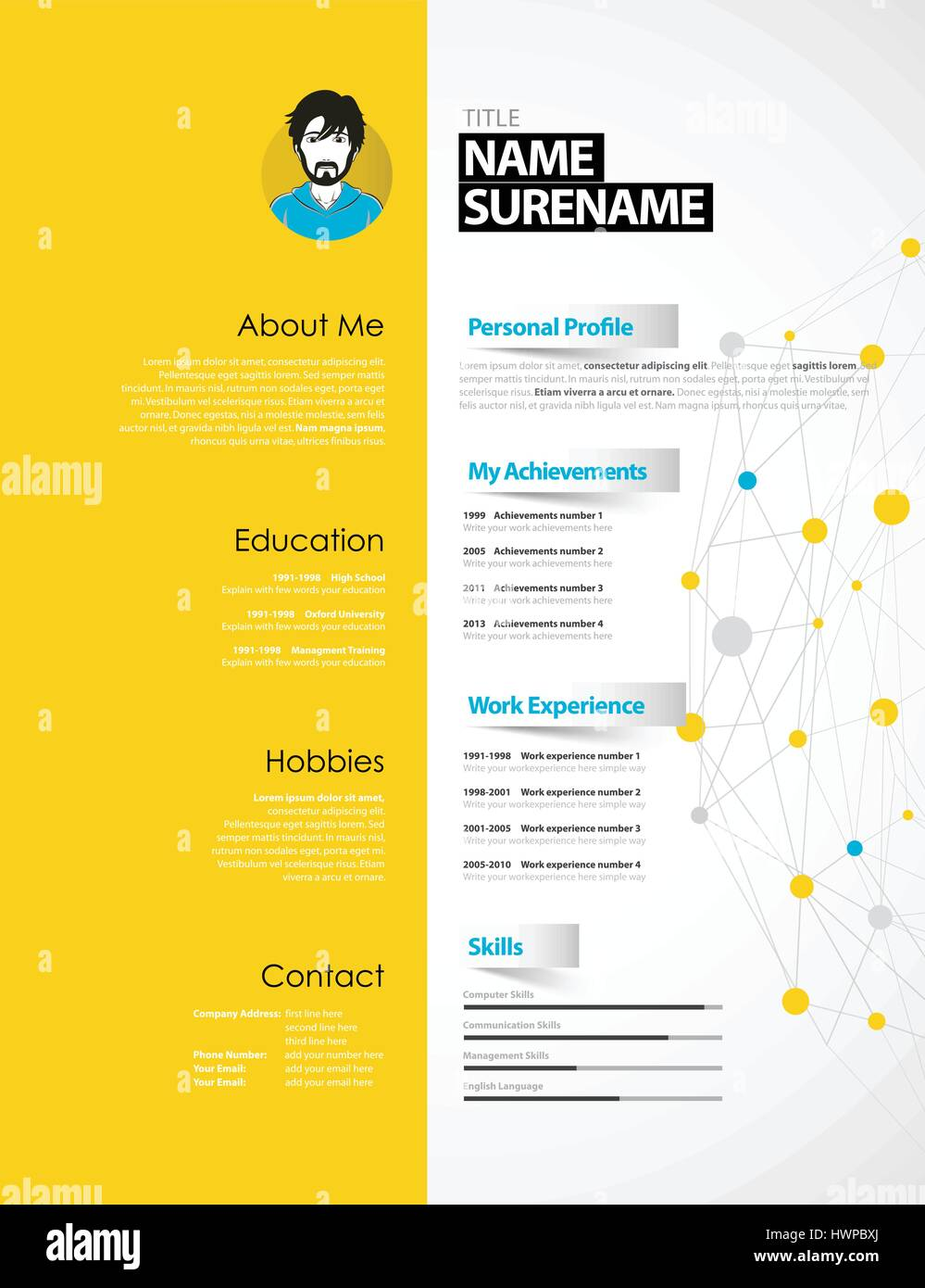 creative cv template with yellow paper stripe stock vector art - Creative Resume Design Templates
