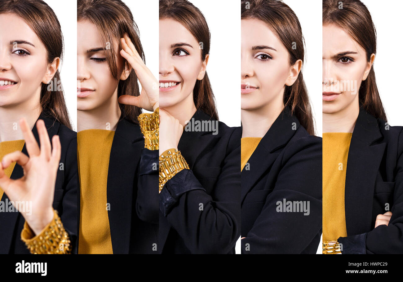 Set of young woman with different facial expressions over white background. - Stock Image