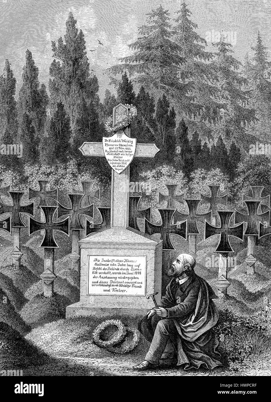 Man mourner at the tomb of Frederick Weidig at the cemetery in Darmstadt, Germany. Friedrich Ludwig Weidig, 1791 - Stock Image