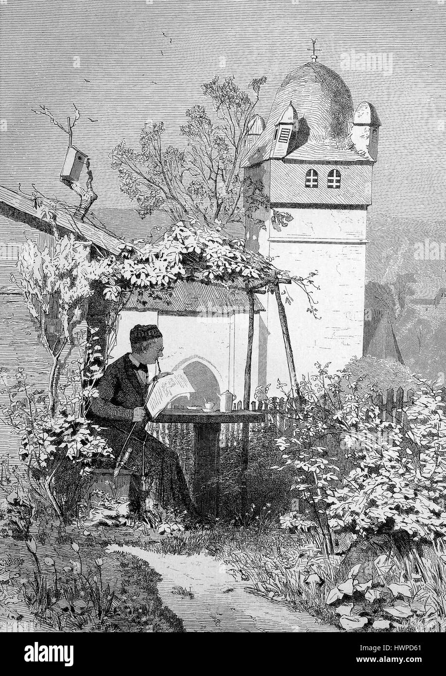 Spring, a priest sits in the garden and is working on his sermon, Reproduction of an original woodcut from the year - Stock Image
