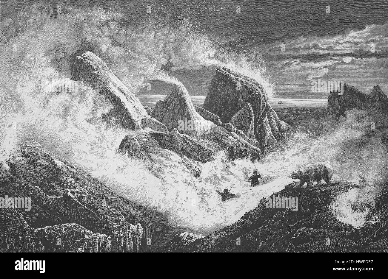 Snow storm in the pack ice on a winter night in 1873, polar bear. Barents Sea, Arctic, Austro-Hungarian polar expedition - Stock Image
