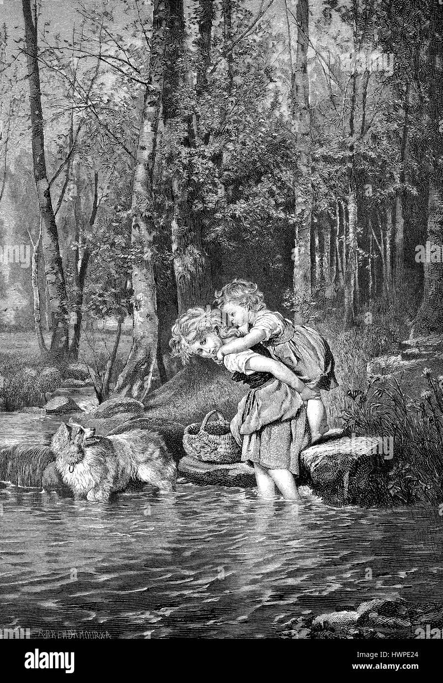 Girls carry little sister piggy-back through a Creek, Reproduction of an original woodcut from the year 1882, digital Stock Photo