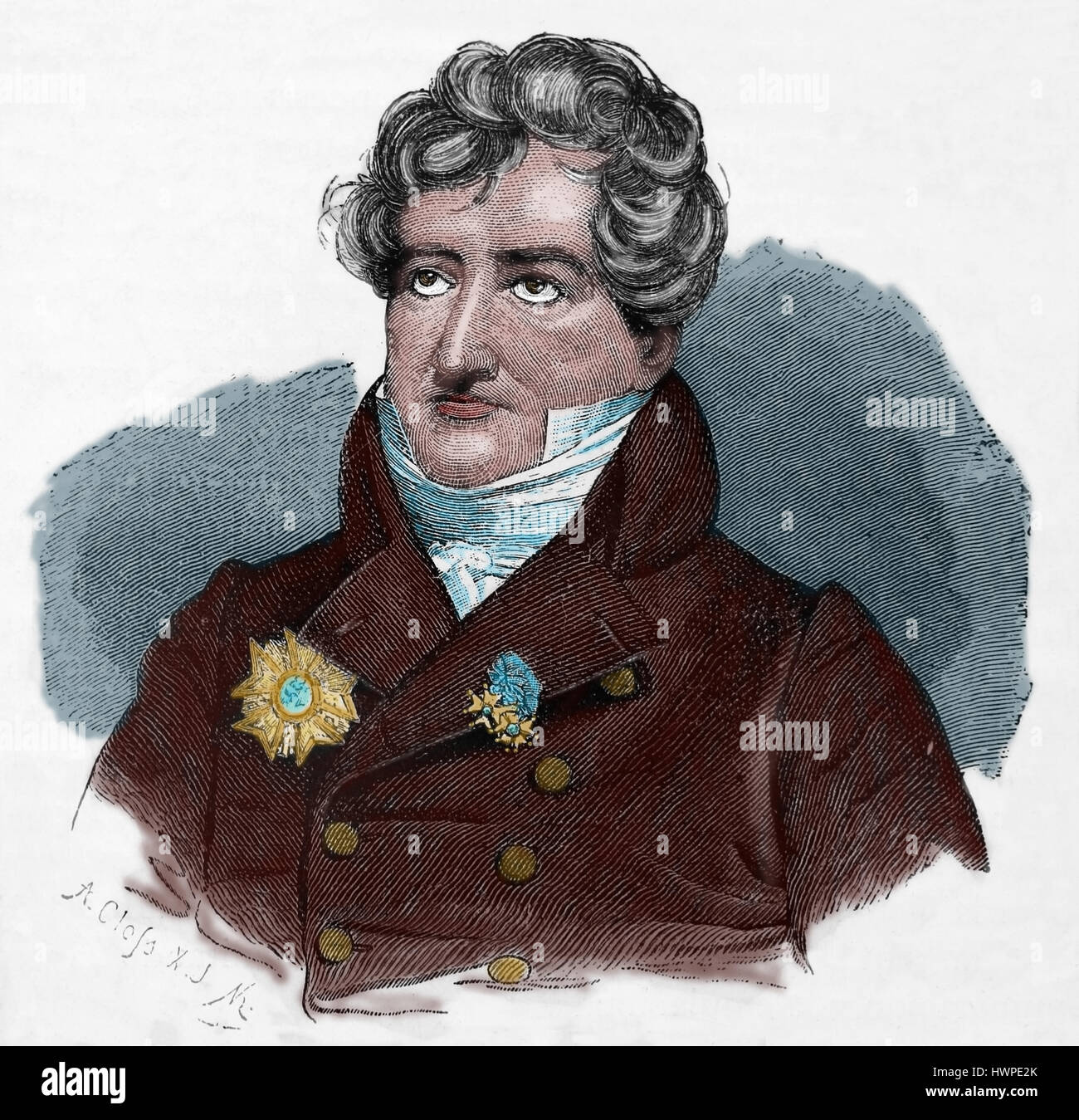 Georges Cuvier (1769-1832). French naturalist and zoologist. Portrait. Engraving, 1883. Colored. - Stock Image