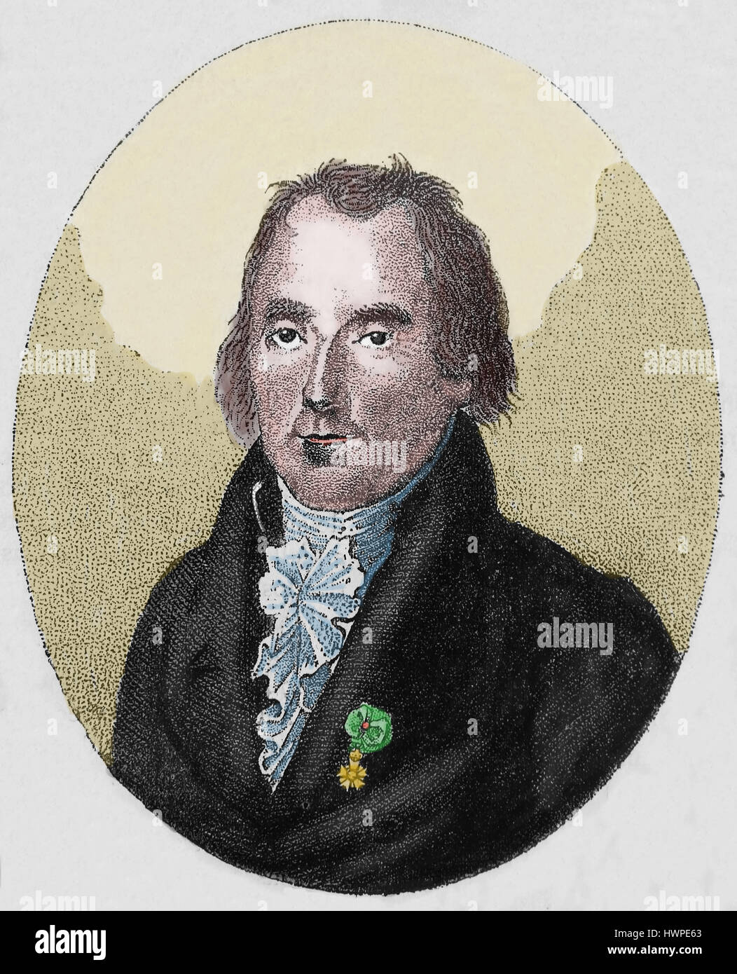 Pierre-Simon Laplace (1749-1827). French astronomer and mathematician. Engraving, 1883. Portrait. Colored. - Stock Image