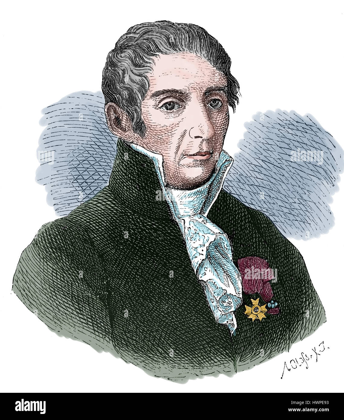 Alessandro Volta (1745-1827). Italian physicist, chemist and pionner of electricity. Engraving, 1883. - Stock Image