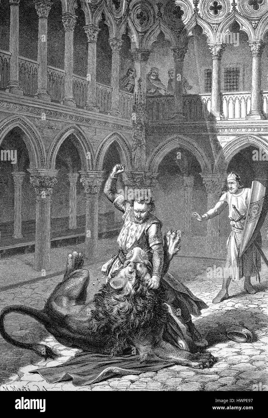 Margrave Wiprecht of Groitzsch, called the elder, 1050-1124 fights in Rome against a lion, Reproduction of an original woodcut from the year 1882, digital improved Stock Photo