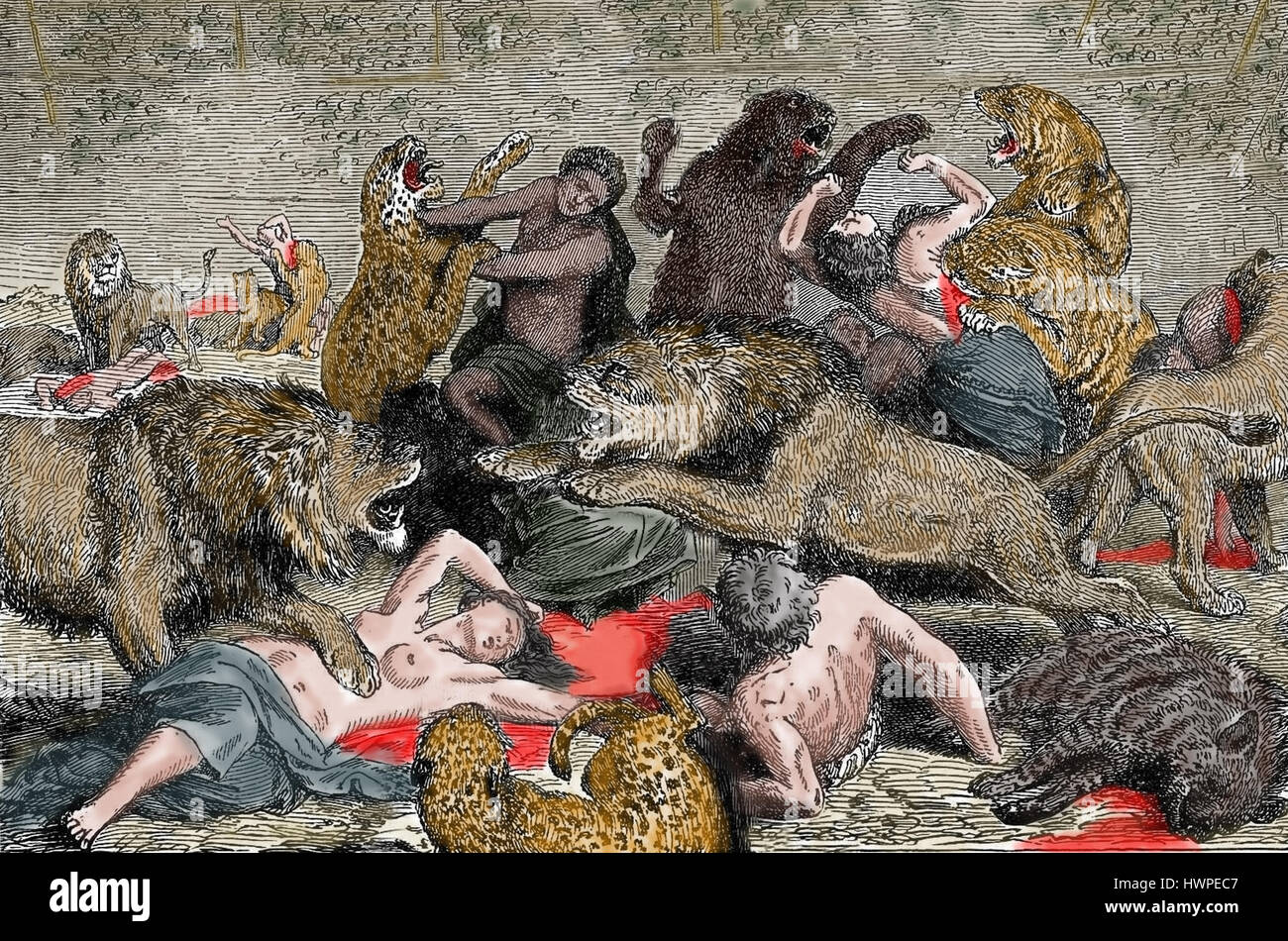 Roman Empire. Persecution of Christians. Amphitheatre.  Christians martyrs. Engraving, Color. 19th century. - Stock Image