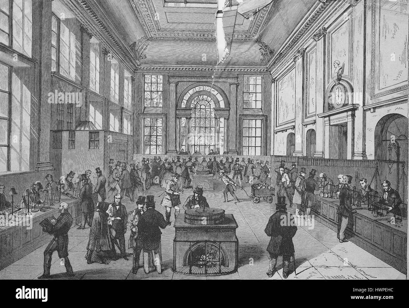 The payment Hall of the Bank of England, London, Reproduction of an original woodcut from the year 1882, digital Stock Photo