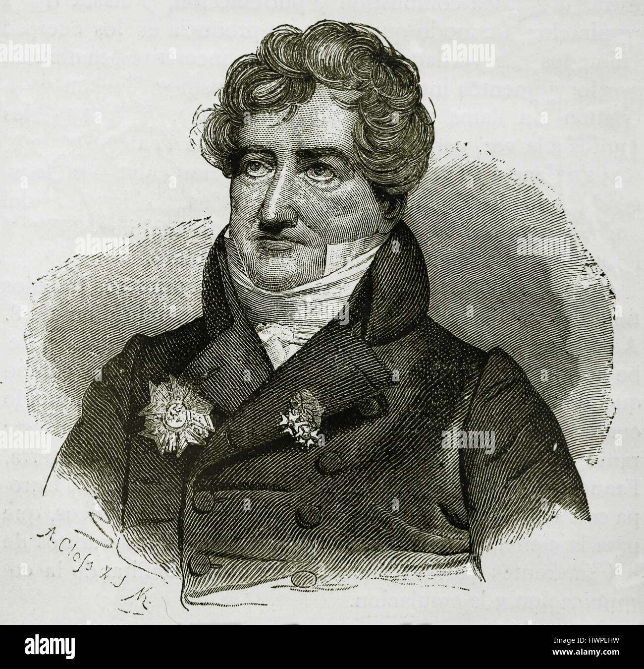 Georges Cuvier (1769-1832). French naturalist and zoologist. Portrait. Engraving, 1883. - Stock Image