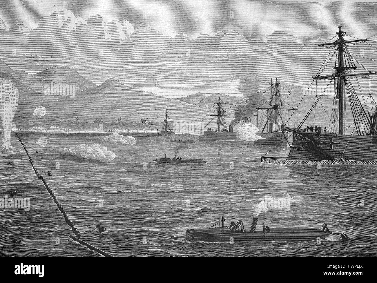 Maneuver of the Turkish fleet against the attack with torpedoes, Reproduction of an original woodcut from the year Stock Photo
