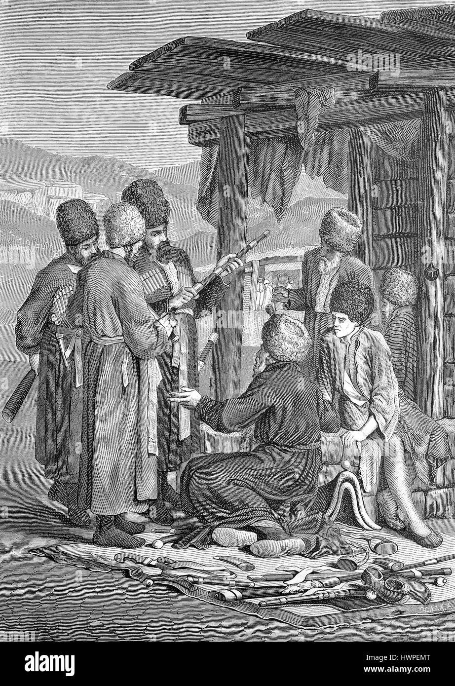 Arms dealers in the Caucasus, Reproduction of an original woodcut from the year 1882, digital improved - Stock Image