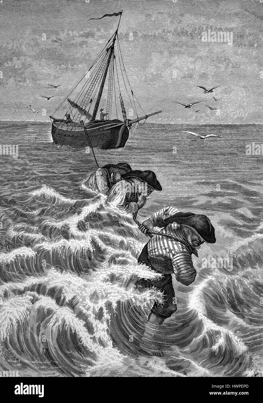 Bug letting go of a vessel by the tidal flats of the North Sea, Wadden Sea, Reproduction of an original woodcut - Stock Image