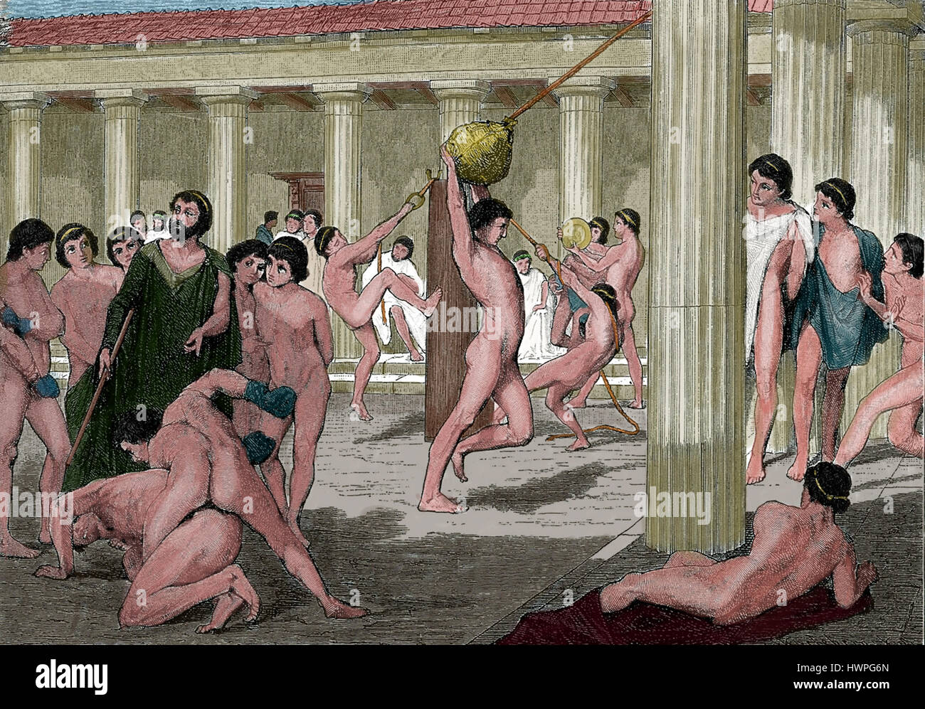 Classical antiquity. Agoge. education and training program by male Spartan citizens. Gymnasium. Engraving, colored. - Stock Image