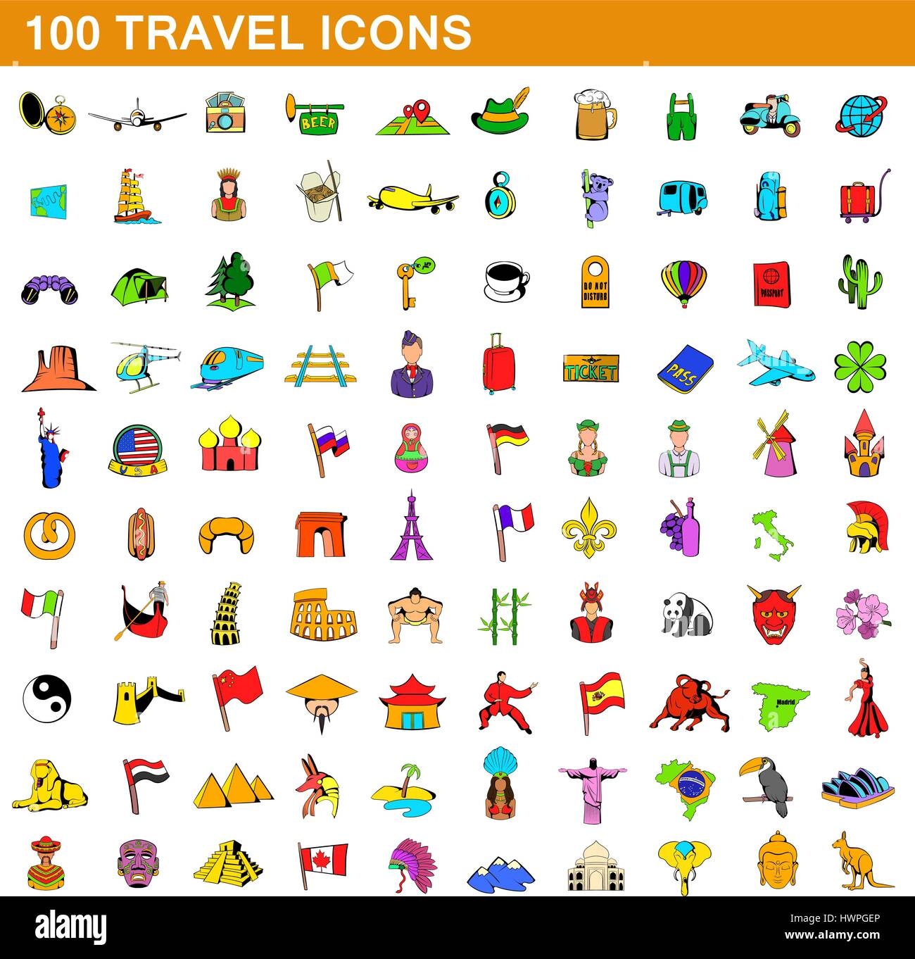 100 travel icons set, cartoon style - Stock Vector