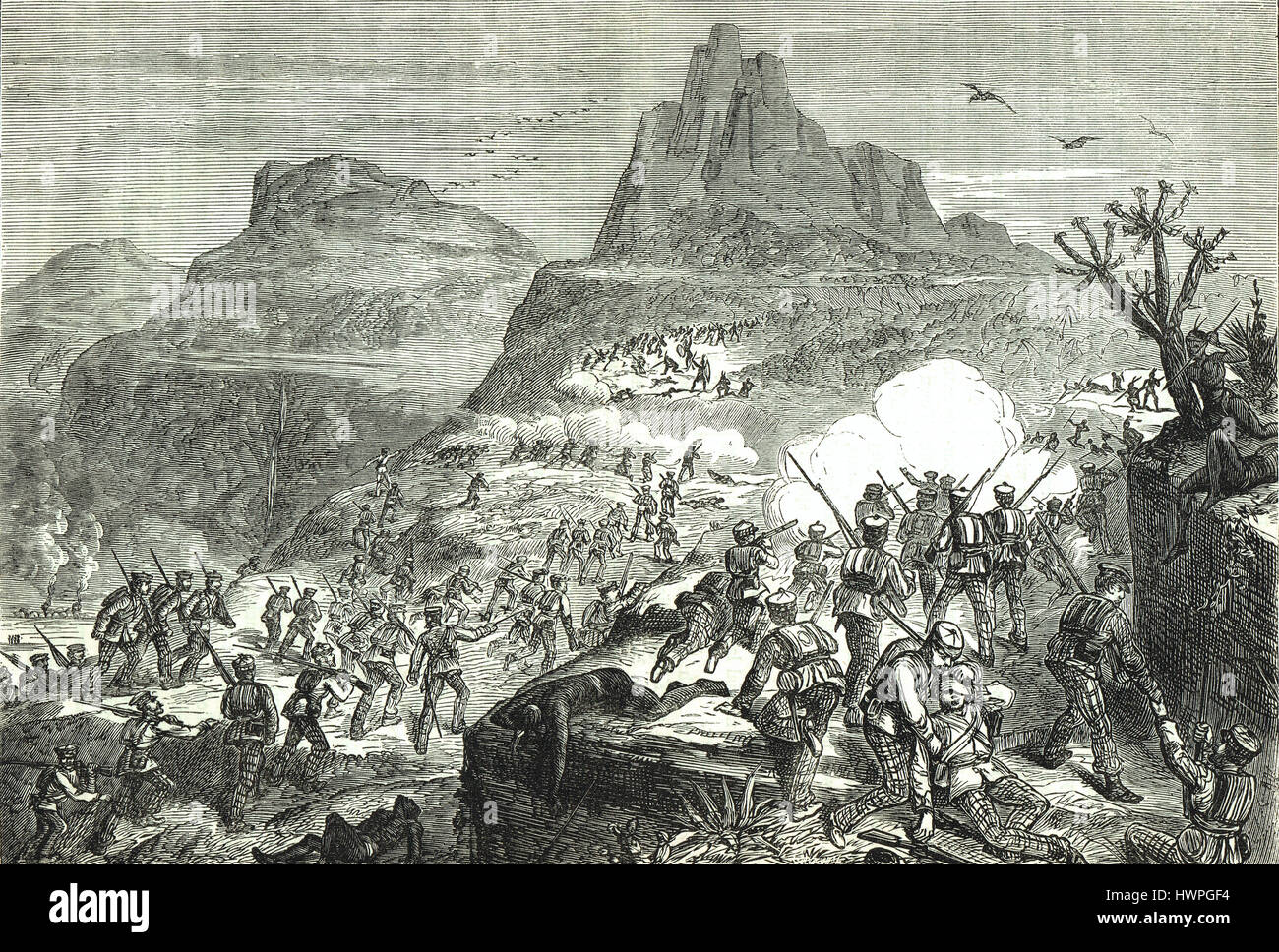 Attacking native positions during the Kaffir War 1852 - Stock Image