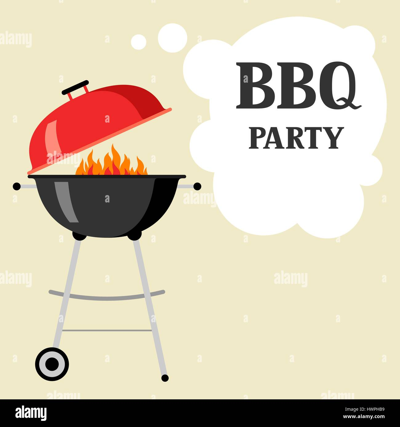 Bbq party background with grill and fire - Stock Vector