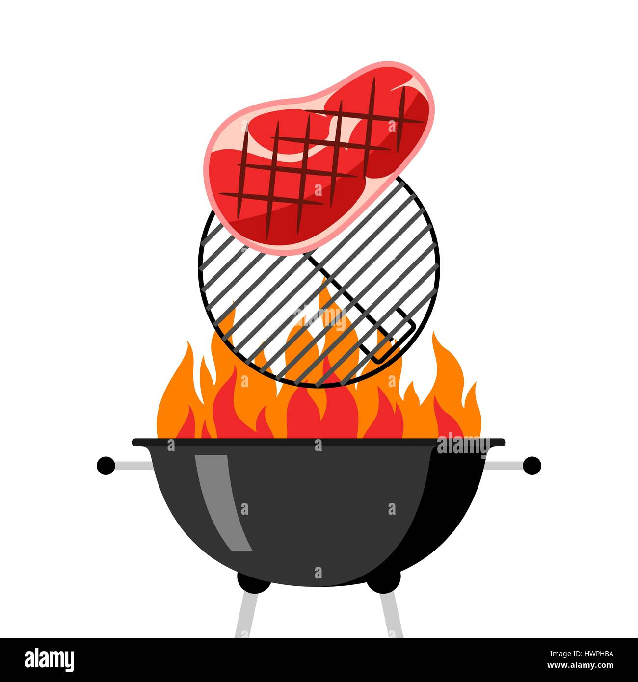 Bbq grill with grate, fire and fried steak - Stock Vector