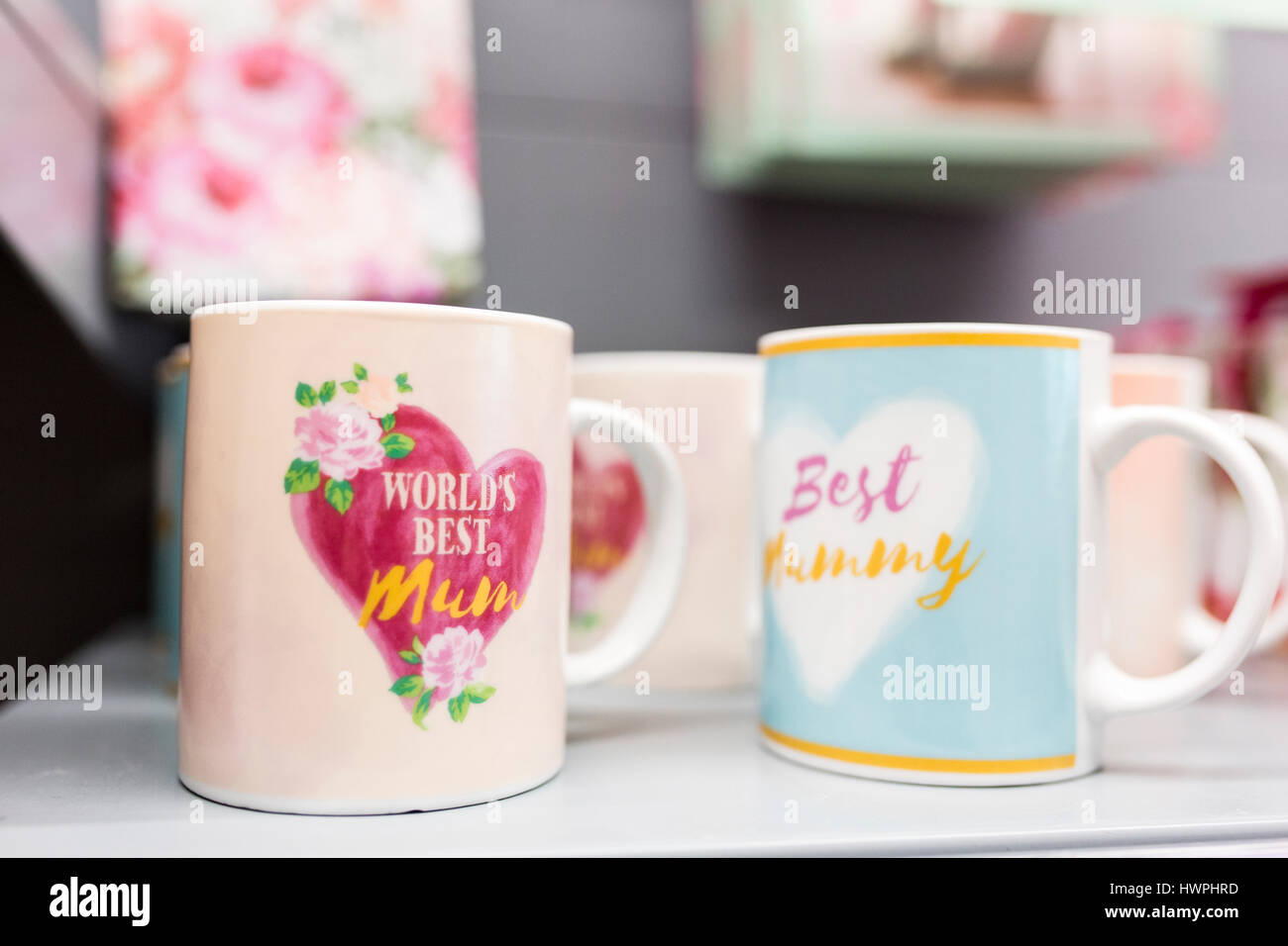 Mother's Day mugs for sale in a British supermarket - Stock Image