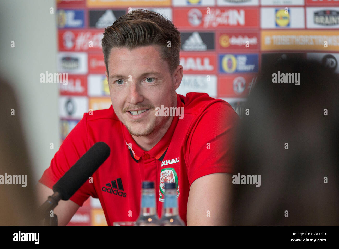 Vale Resort, Vale of Glamorgan, Wales, UK. 22nd Mar, 2017. Wayne Hennessey faces the press during Wales player media - Stock Image