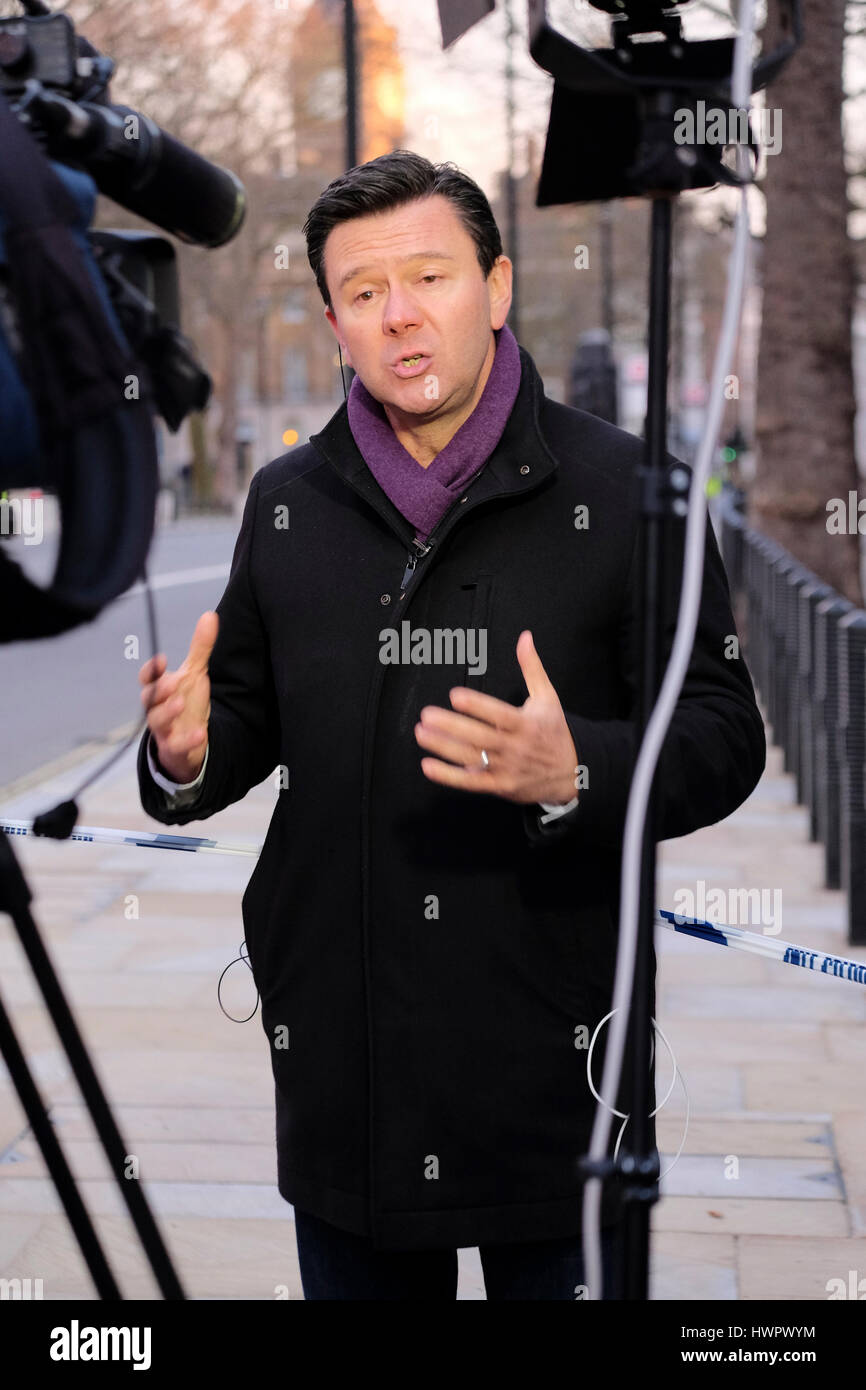 London, UK. 22nd Mar, 2017. International news broadcasters report from Westminster following the terrorist attack - Stock Image