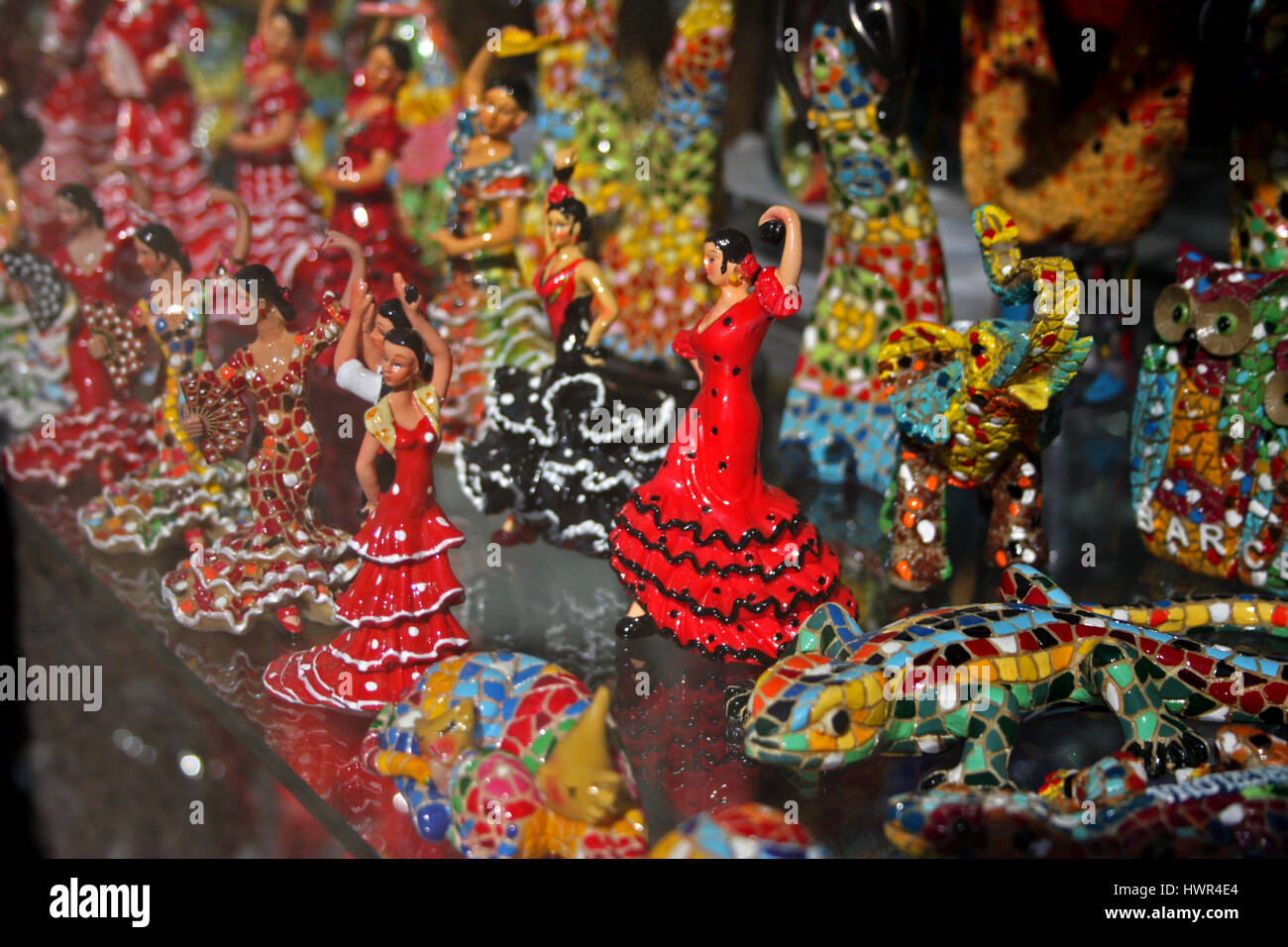 Kitsch tourist souvenirs on La Rambla - Stock Image