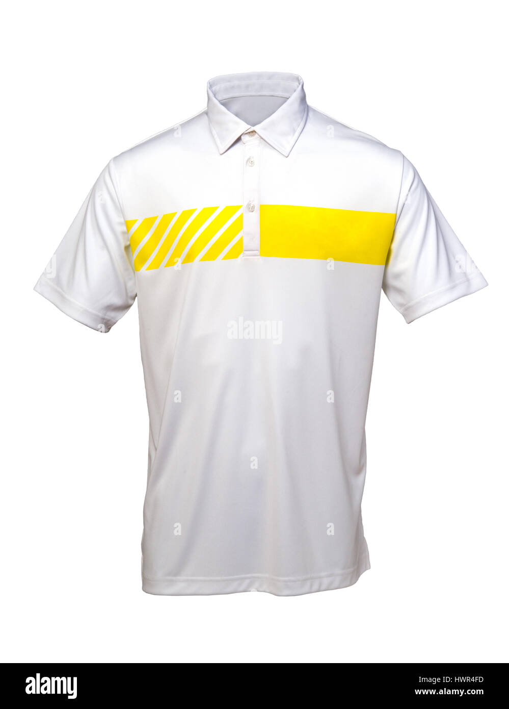White and yellow golf tee shirt for man or woman on white background - Stock Image