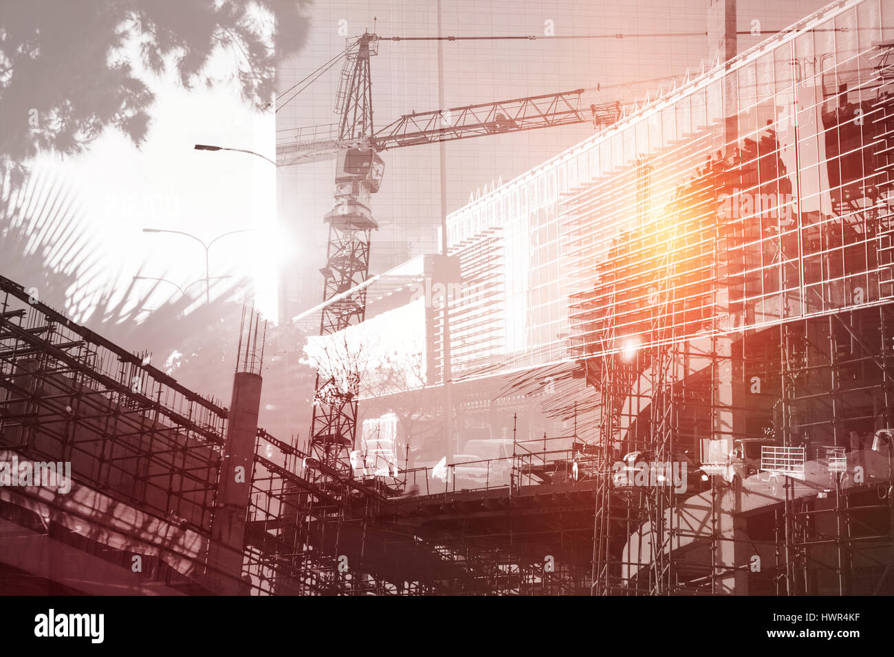 Work in progress in the city against front side of buildings - Stock Image