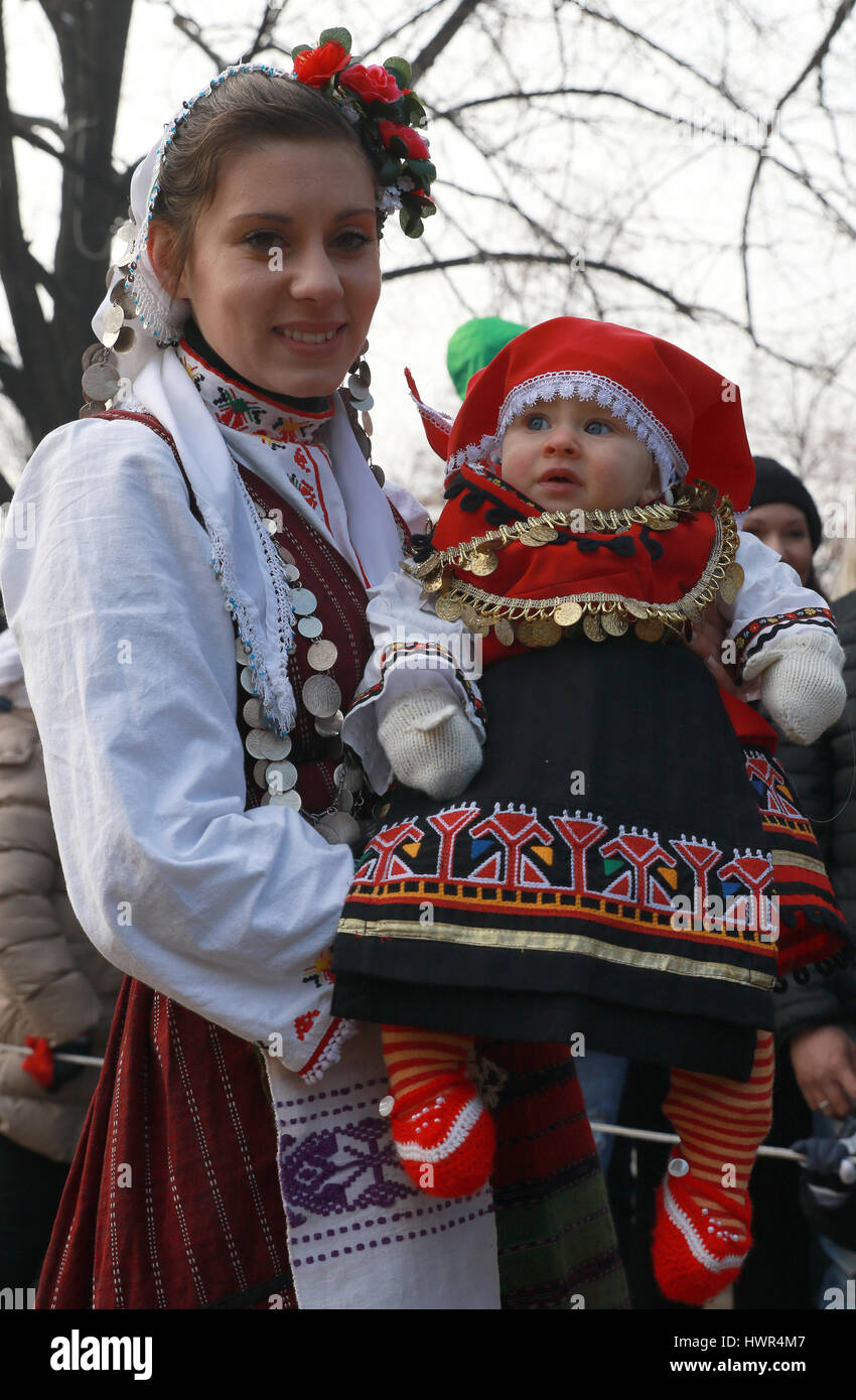 Authentic folk costumes from Bulgaria - Stock Image