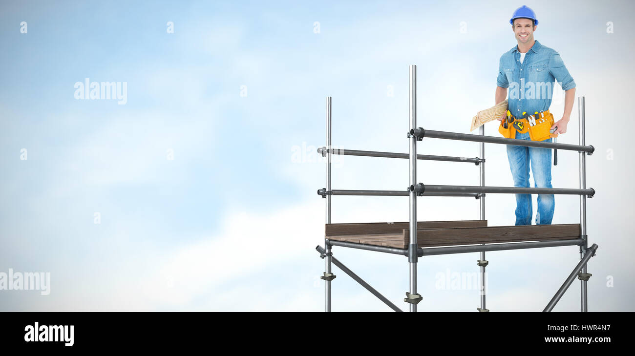 Happy carpenter with wooden planks against blue sky with clouds  3d - Stock Image