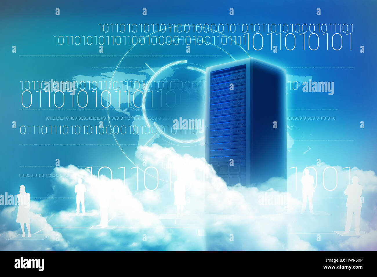 Scenic view of white fluffy clouds against server tower 3d - Stock Image