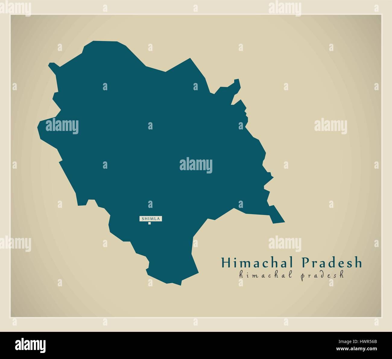 Modern Map - Himachal Pradesh IN - Stock Vector