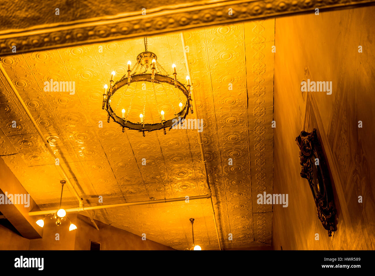 Inside a theater in Lincoln, Nebraska, a glowing light fills the room. Stock Photo