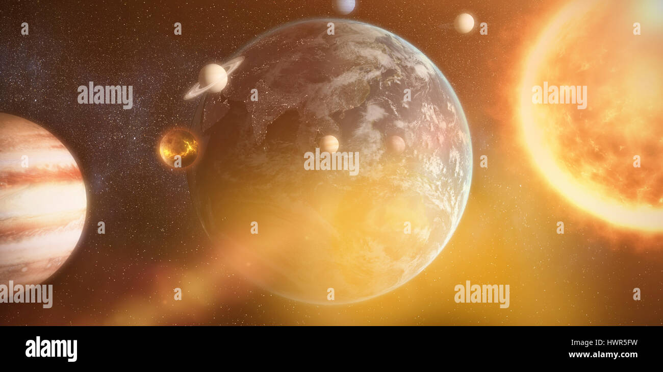 Composite image of solar system against white background against satellite view of earth with asia - Stock Image