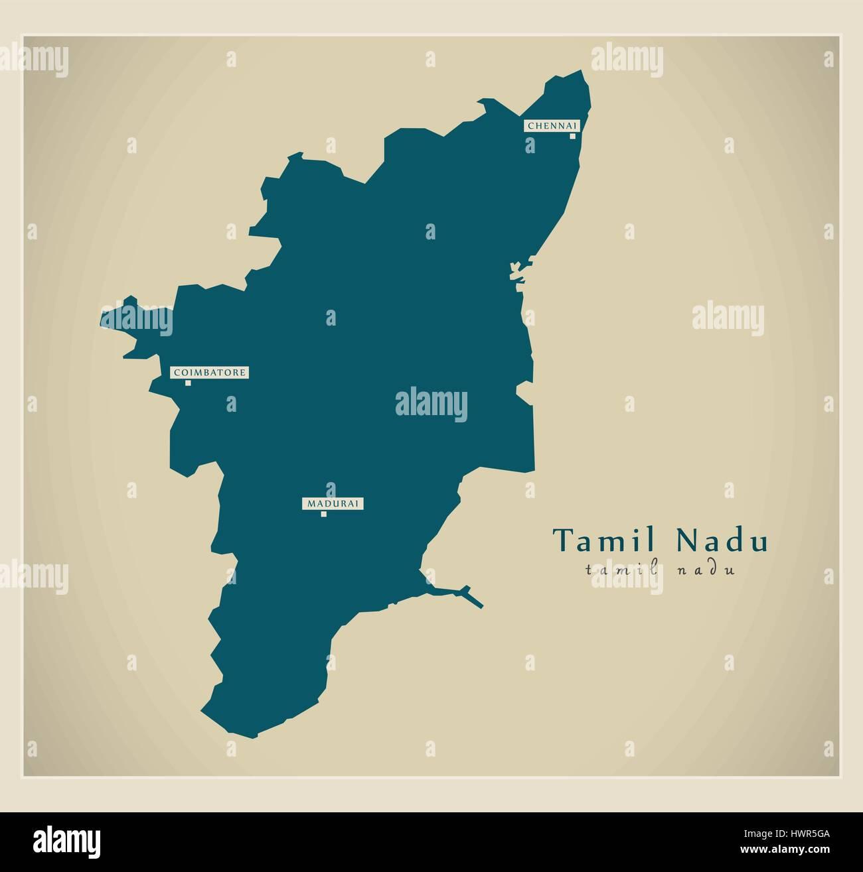 Modern map tamil nadu in stock vector art illustration vector modern map tamil nadu in gumiabroncs Choice Image